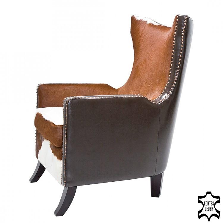 Sessel Denver Cow (Echtleder) - Braun/Weiß, Kare Design