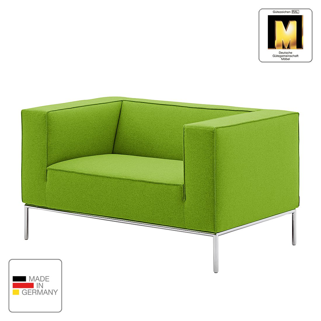 Sessel Greg - Webstoff - Grün - 1 Kissen, Machalke Polsterwerkstätten