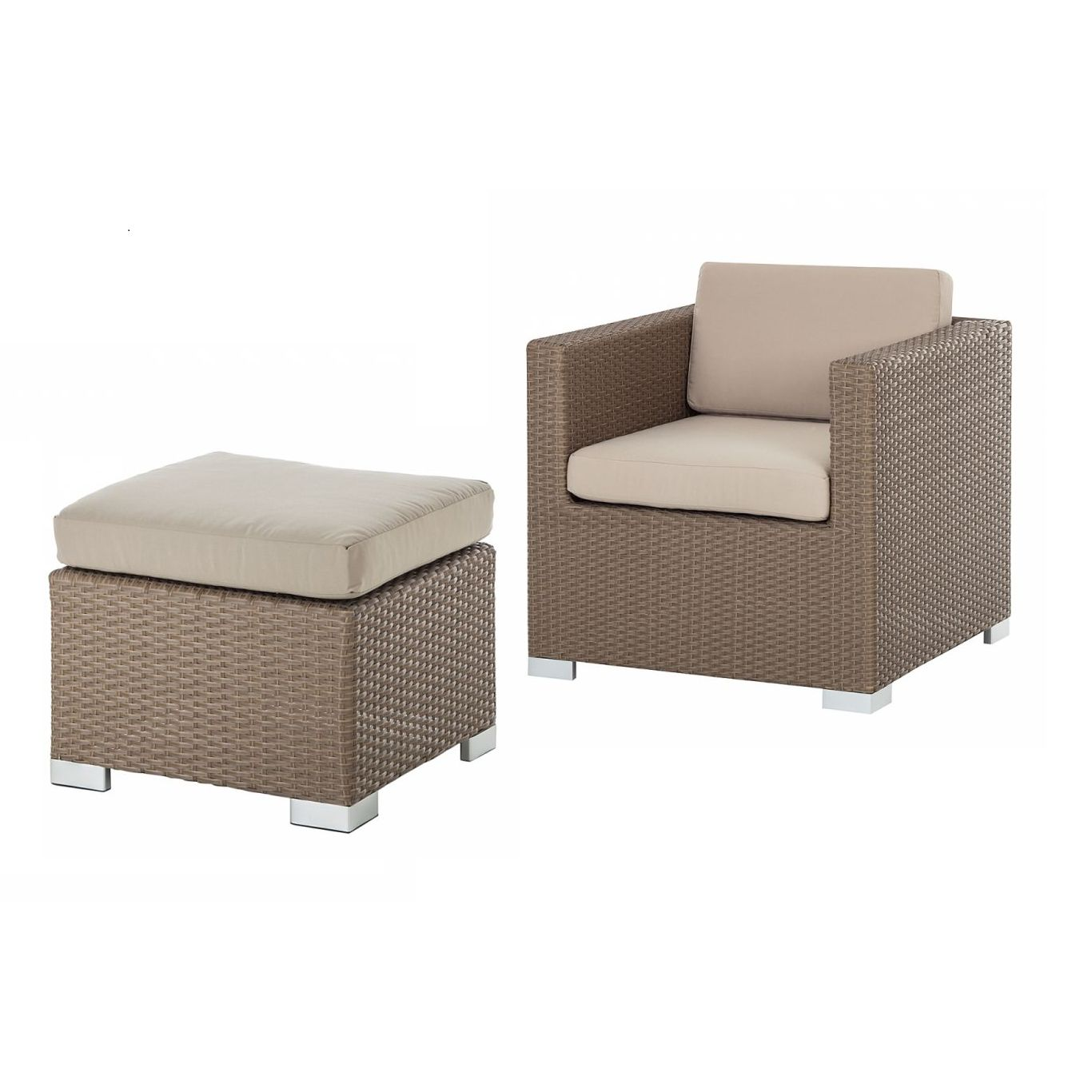 Sessel-Hocker-Set Rattanesco Puca (2-teilig) - Polyrattan/Textil - Braun/Beige, Kings Garden