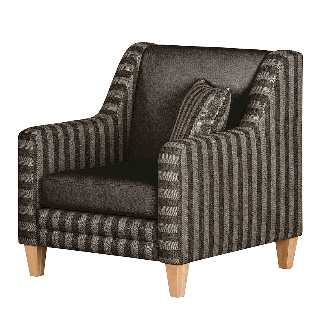 sessel kjell webstoff fischgr tmuster braun gestreift. Black Bedroom Furniture Sets. Home Design Ideas