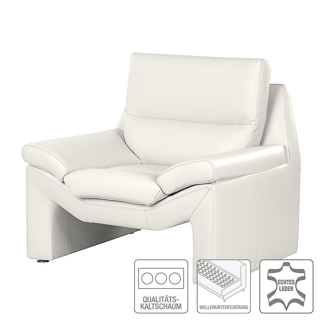 Sessel Longford - Echtleder Weiß, Nuovoform