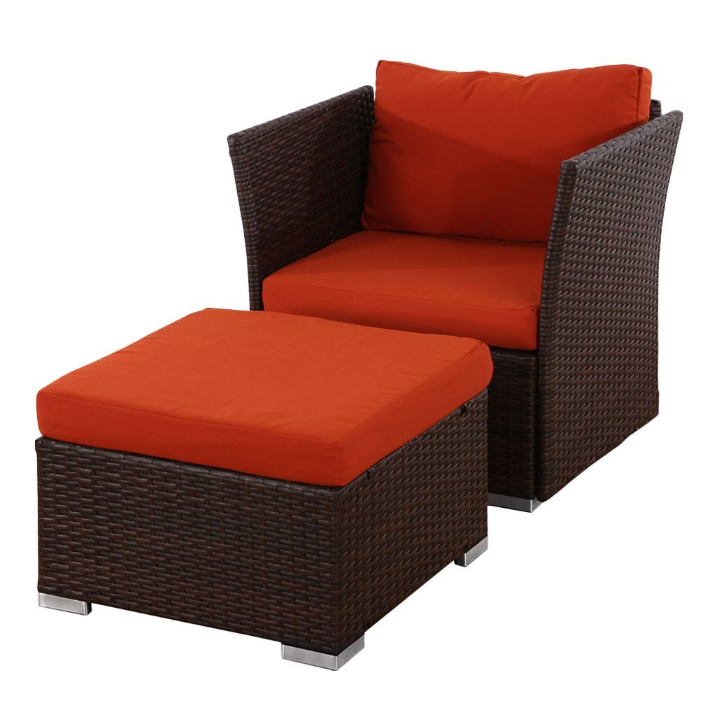 sessel mit ottomane sevilla poly rattan gastronomie qualit t braun mit kissen in bordeaux. Black Bedroom Furniture Sets. Home Design Ideas