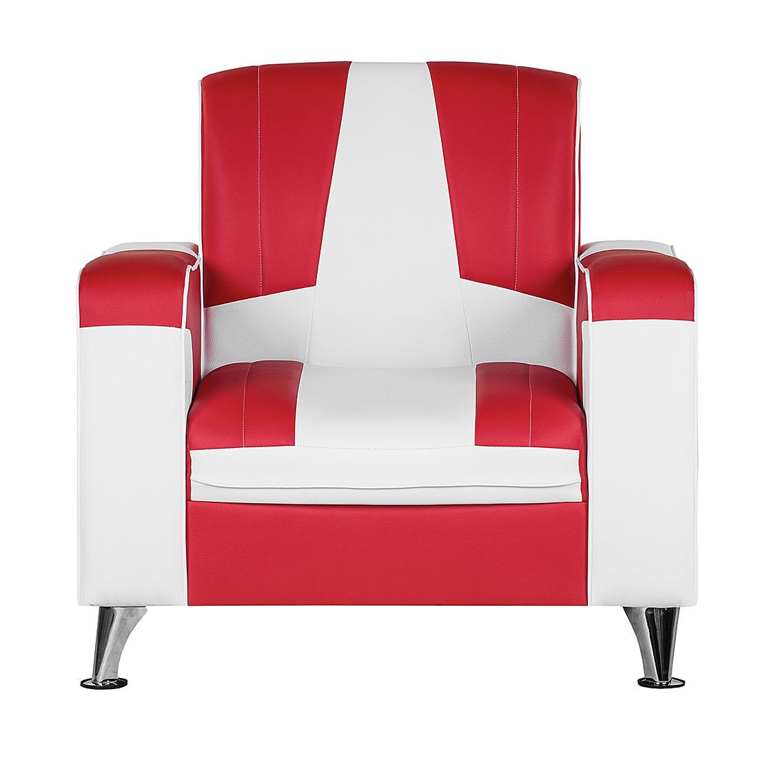 Sessel Nixa – Kunstleder Rot/Weiß, Studio Monroe günstig bestellen