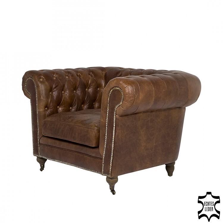 Sessel Oxford Vintage Deluxe - Echtleder Braun, Kare Design
