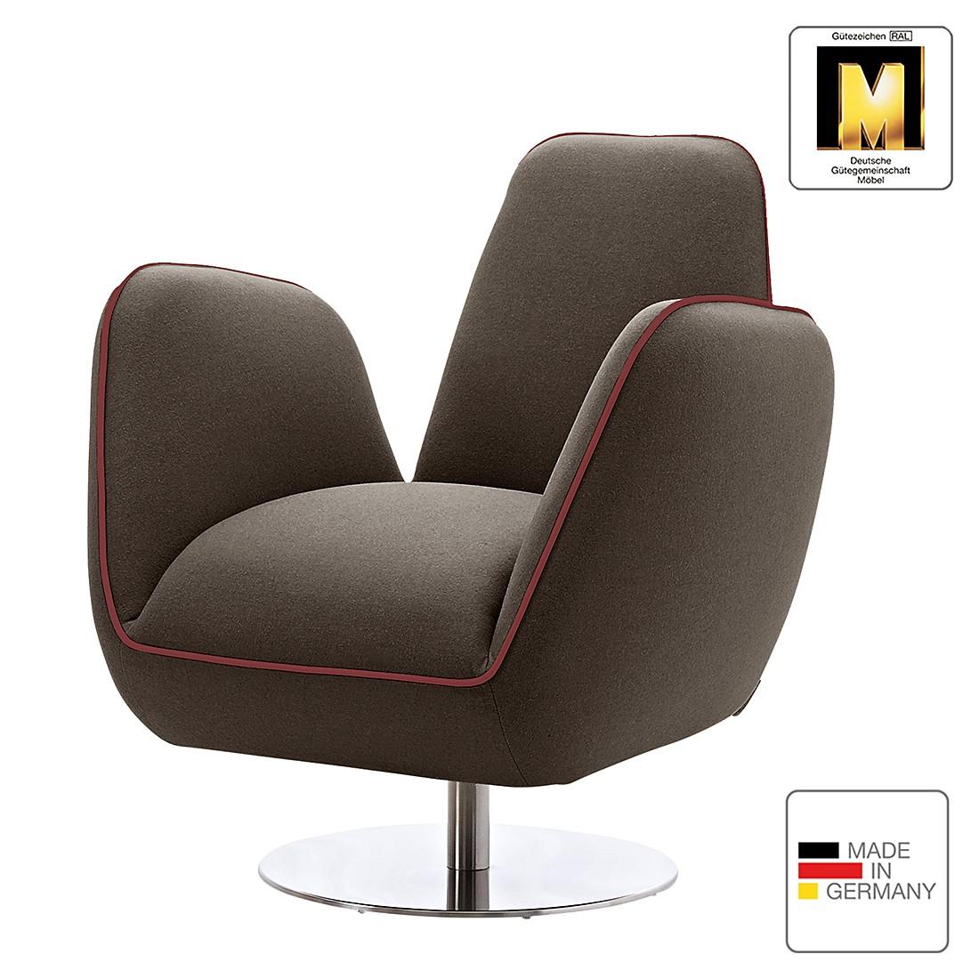 Sessel Pinto I – Webstoff – Braun / Rot, Machalke Polsterwerkstätten günstig online kaufen