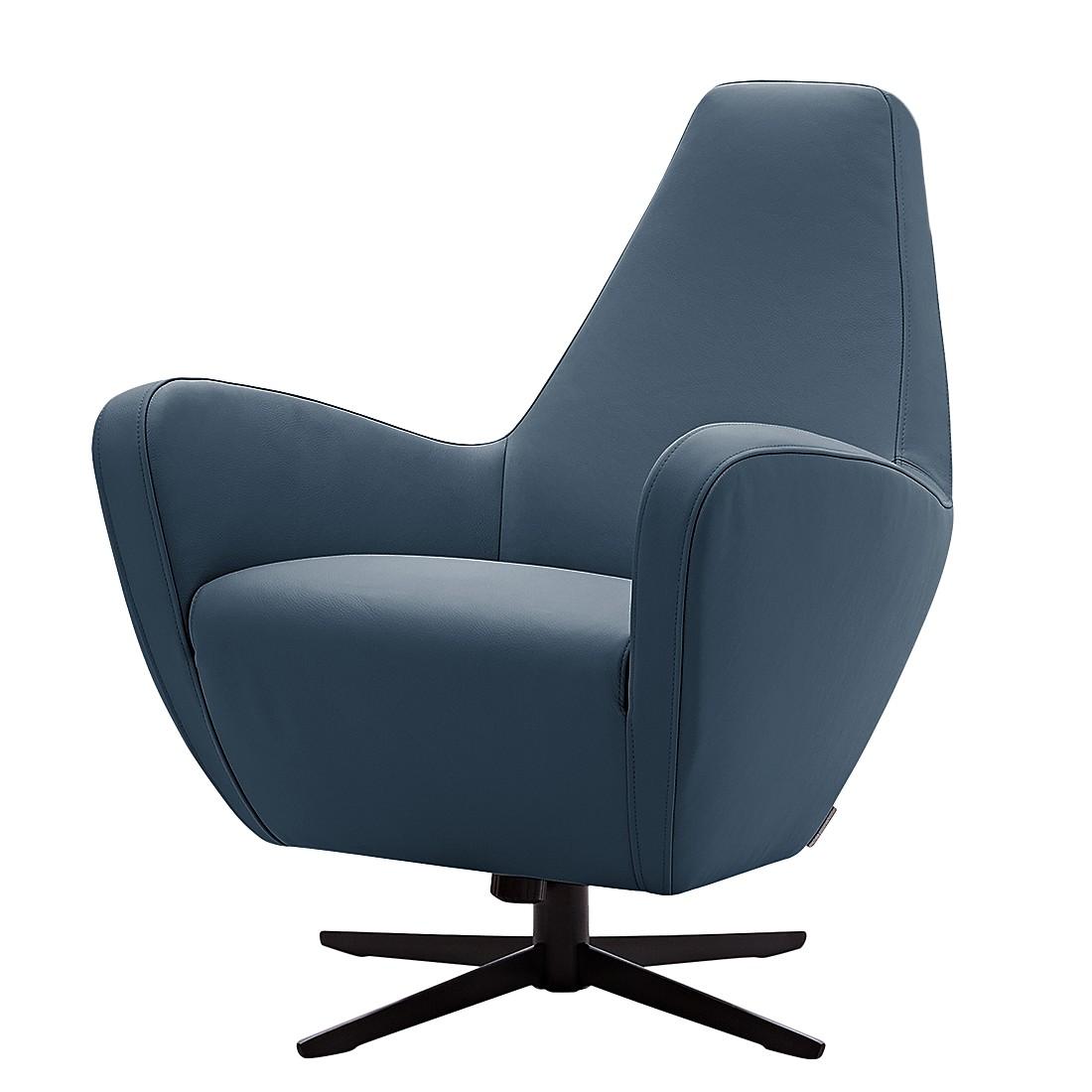Sessel Polo I - Echtleder - Pulverschwarz - Marineblau, Machalke Polsterwerkstätten