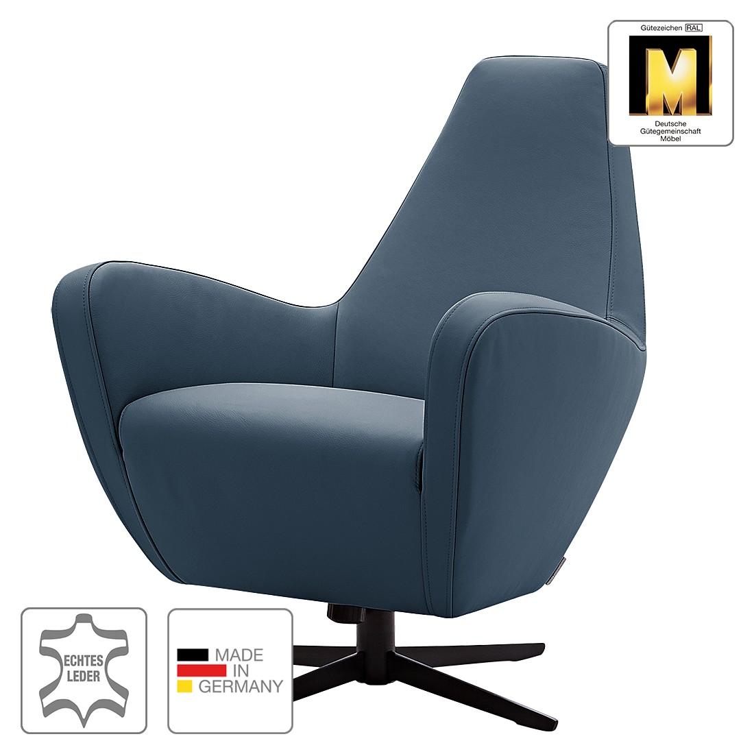 Sessel Polo I – Echtleder – Pulverschwarz – Marineblau, Machalke Polsterwerkstätten online bestellen