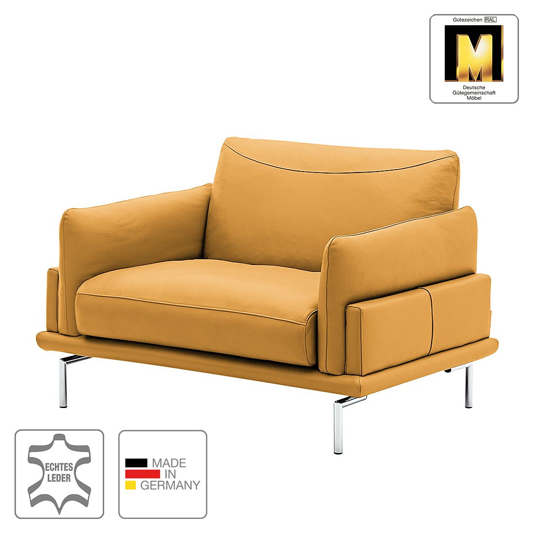 fauteuil seattle cuir v ritable jaune moutarde. Black Bedroom Furniture Sets. Home Design Ideas