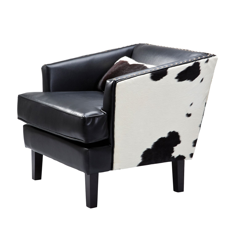 Sessel Texas Black Cow - Echtleder/Kunstleder - Schwarz, Kare Design
