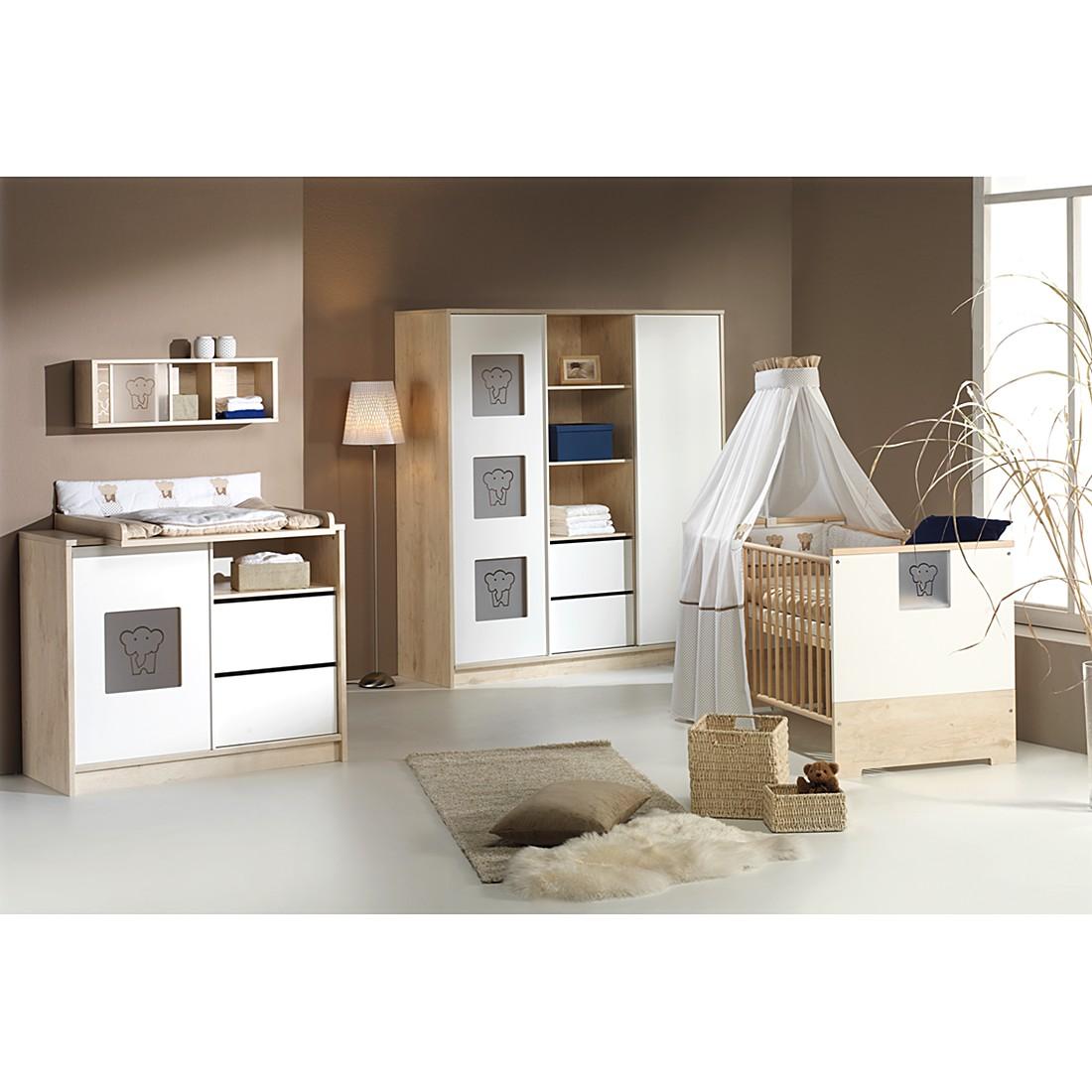 Babyzimmer Eco Slide (3-tlg.) - Lancelot Oak/Weiß - mit Schrank mit Mittelregal, Schardt