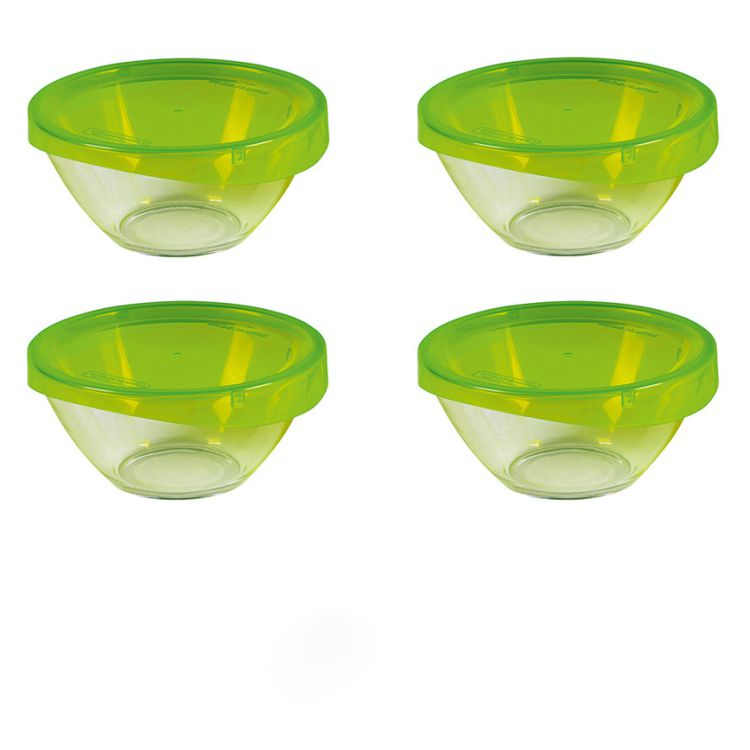 Set Glasschale Keep n Bowl mit Deckel – Glas Transparent, Grün – 28 cm 4-teilig, Luminarc online bestellen