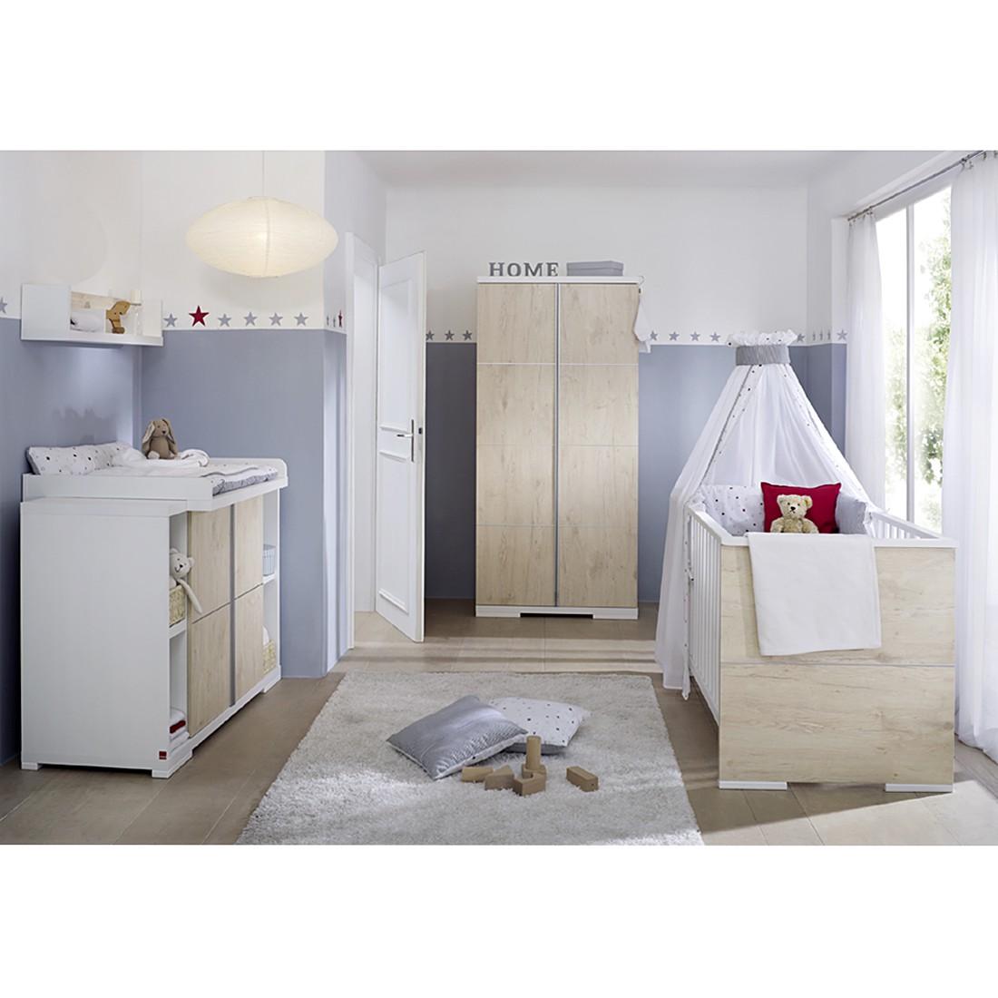 Babyzimmer Maximo (3-tlg.) - Lancelot Oak Dekor / Weiß - mit 2-trg. Schrank & Seitenregal, Schardt