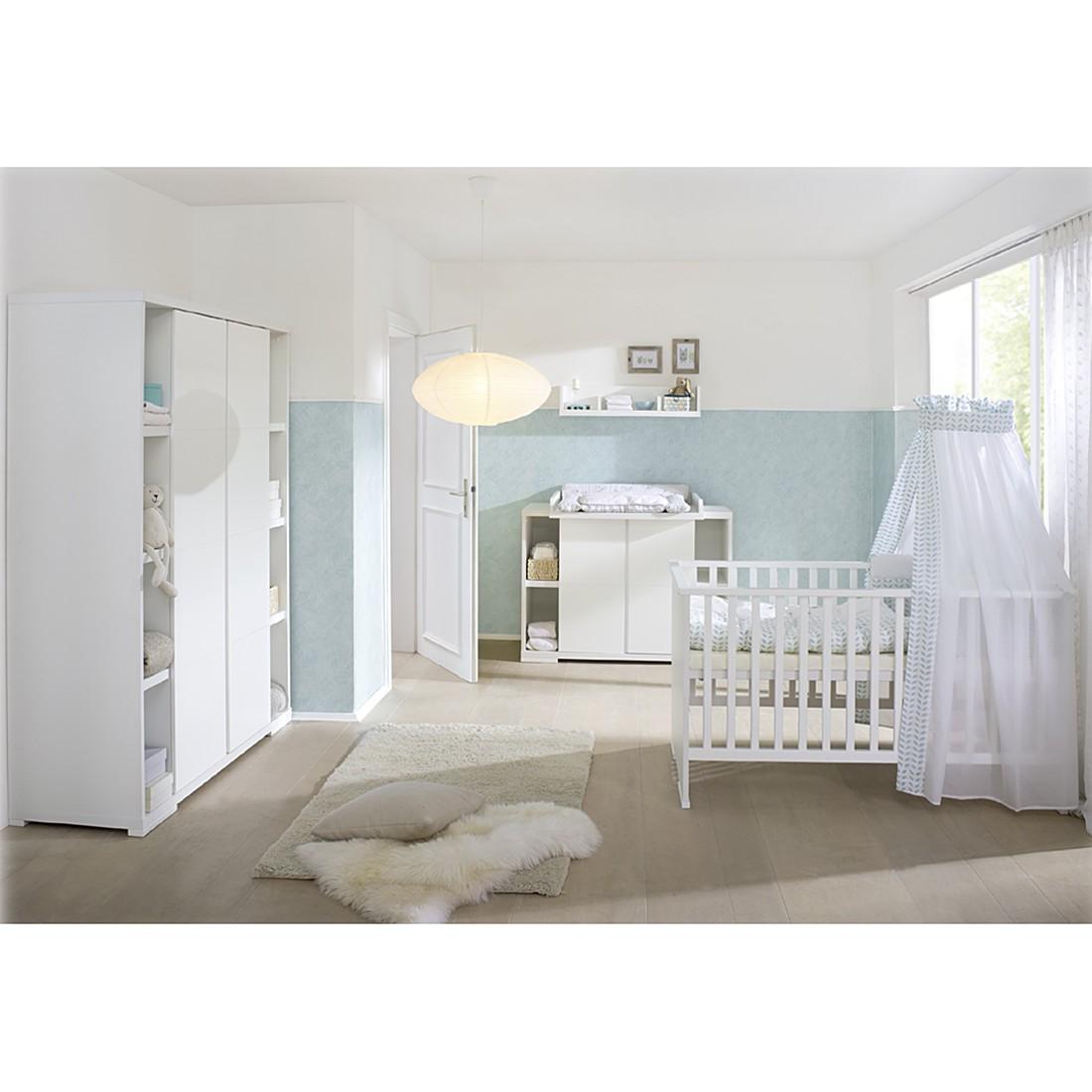 Babyzimmer Maximo (3-tlg.) - Weiß - mit 2-trg. Schrank & Seitenregal, Schardt