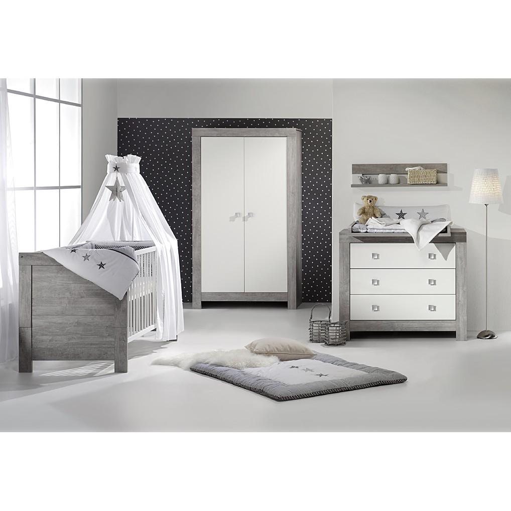 Babyzimmer Nordic (3-tlg.) - Driftwood/Weiß - mit 3-trg. Schrank, Schardt