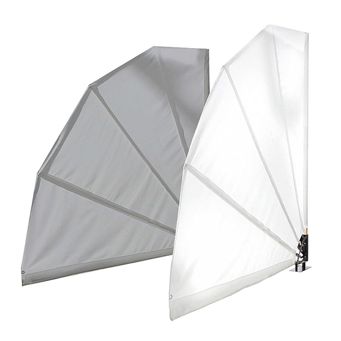 Sichtschutz in Fächerform – Textilgewebe/Holz/Metall – Grau, PureDay günstig online kaufen
