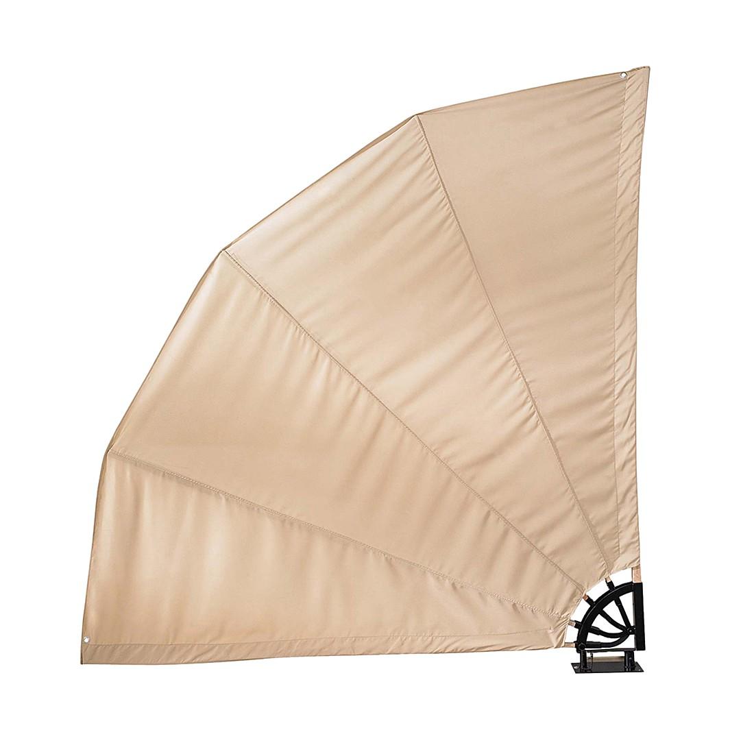 Sichtschutz in Fächerform – Textilgewebe/Holz/Metall – Sand, PureDay jetzt kaufen