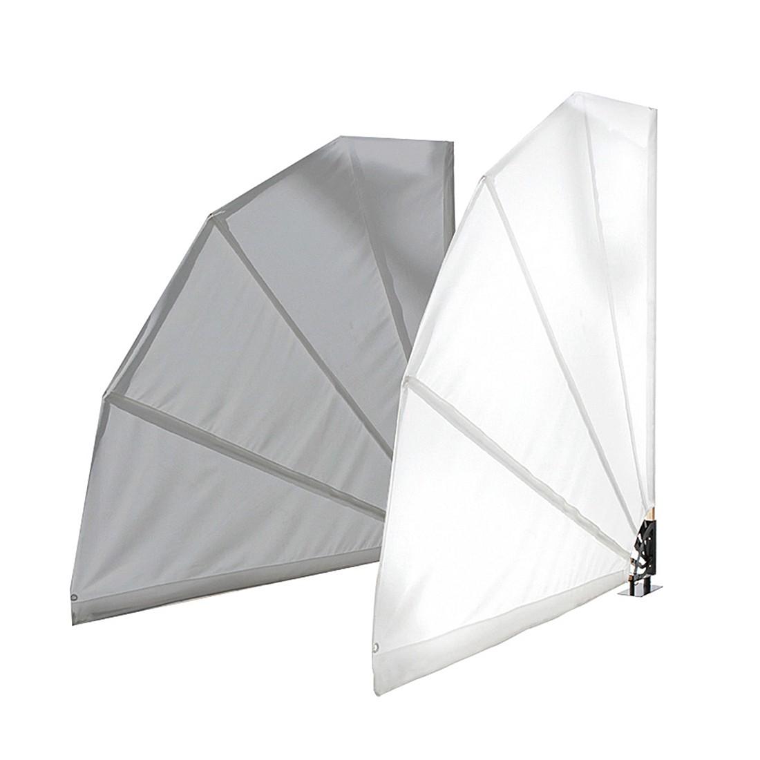 Sichtschutz in Fächerform – Textilgewebe/Holz/Metall – Weiß, PureDay günstig kaufen