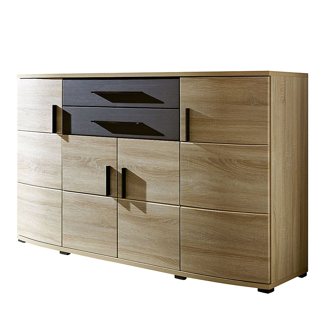 sideboard almelo sonoma eiche dekor melinga black. Black Bedroom Furniture Sets. Home Design Ideas