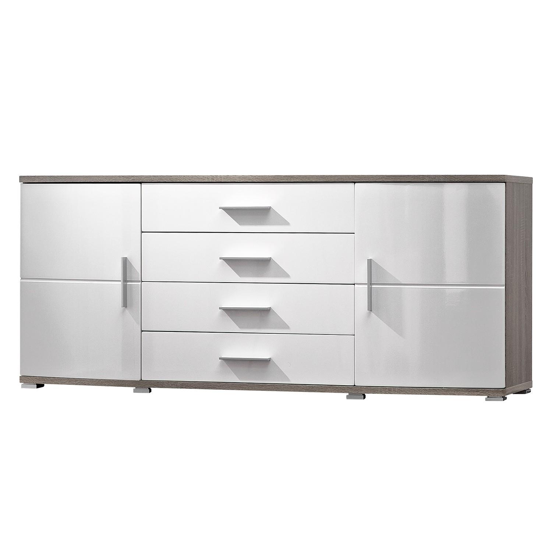 Sideboard Altona - Hochglanz Weiß/Eiche Sonoma Dekor Dunkel, Modoform