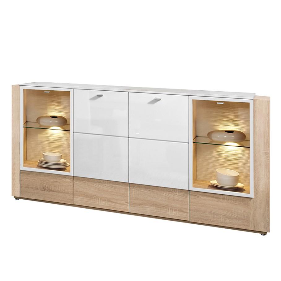 Sideboard Ancona – Eiche Dekor/Hochglanz Weiß – Vier Türen – Zubehör: Ohne Beleuchtung, PerfectFurn bestellen