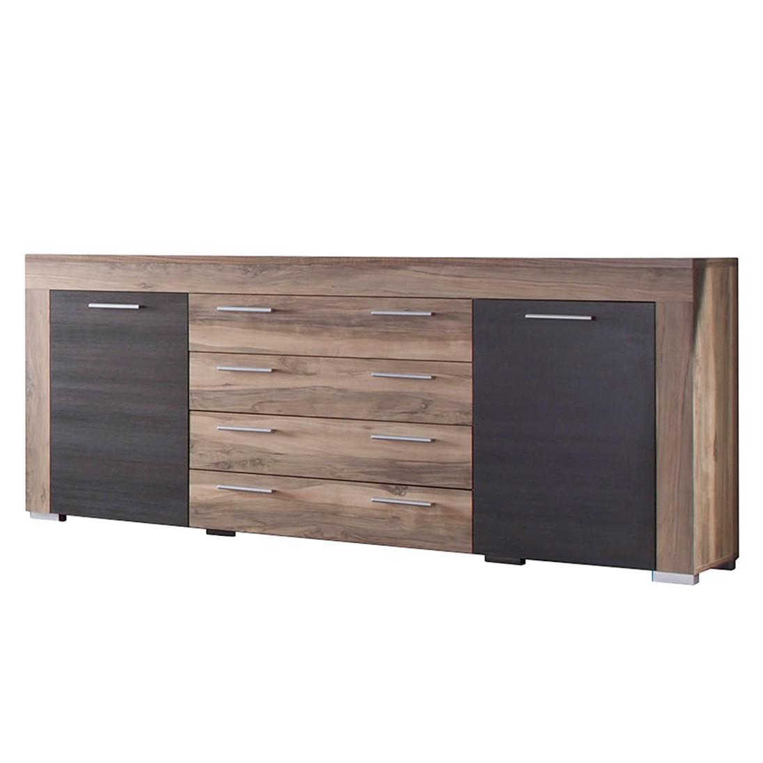 Sideboard Bang - Nussbaum-Satin/Dunkelbraun-Touchwood Dekor