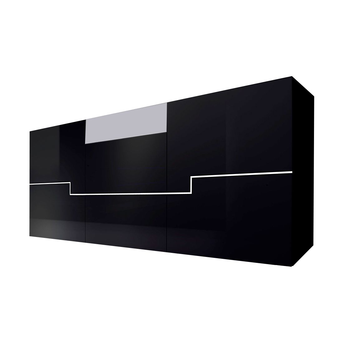 sideboard blackdream hochglanz schwarz wei schrank. Black Bedroom Furniture Sets. Home Design Ideas