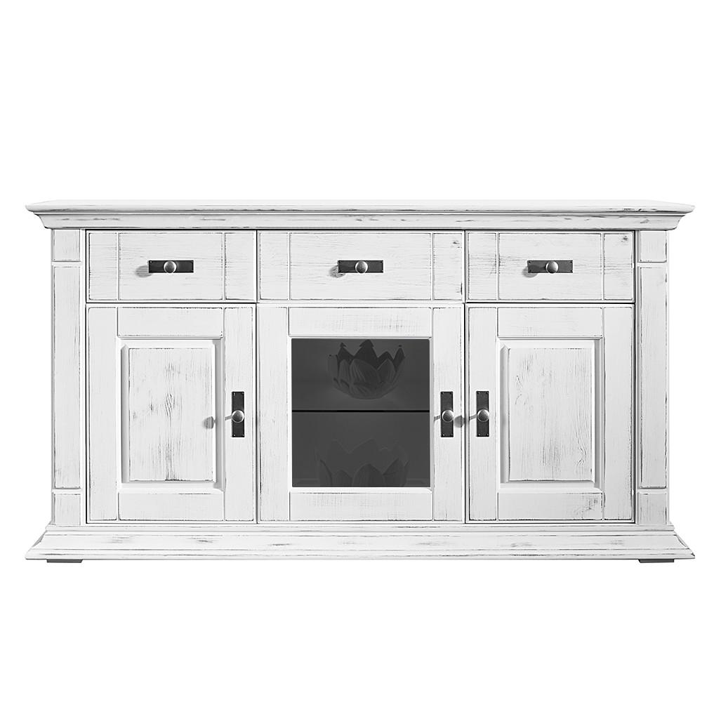 Sideboard Bretagne - Kiefer massiv - Weiß - Ohne Beleuchtung, Maison Belfort