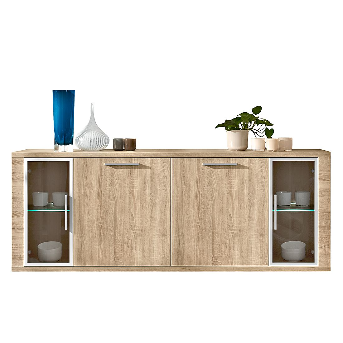 sideboard cool 4 t rig mit glast ren eiche dekor. Black Bedroom Furniture Sets. Home Design Ideas