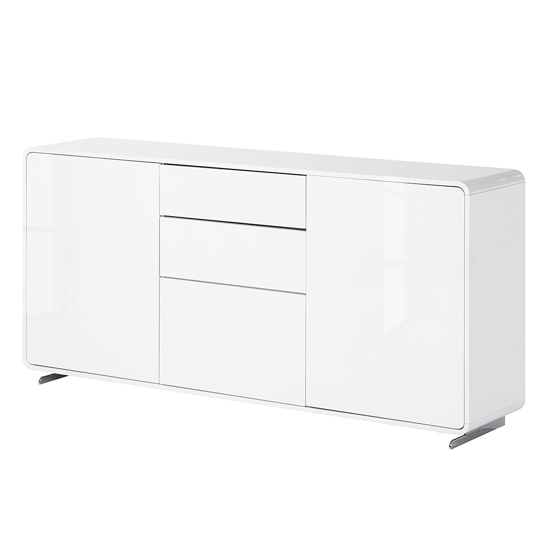 sideboard cuuba curve s18 4 led hochglanz wei jahnke. Black Bedroom Furniture Sets. Home Design Ideas