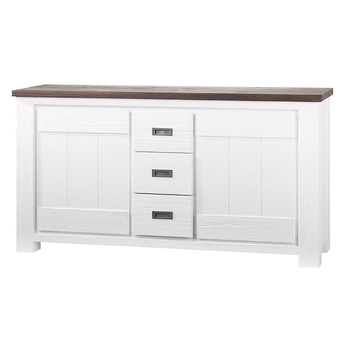 Sideboard Deaumain - Akazie teilmassiv - Weiß - Maße: 220 x 85 cm, Habufa