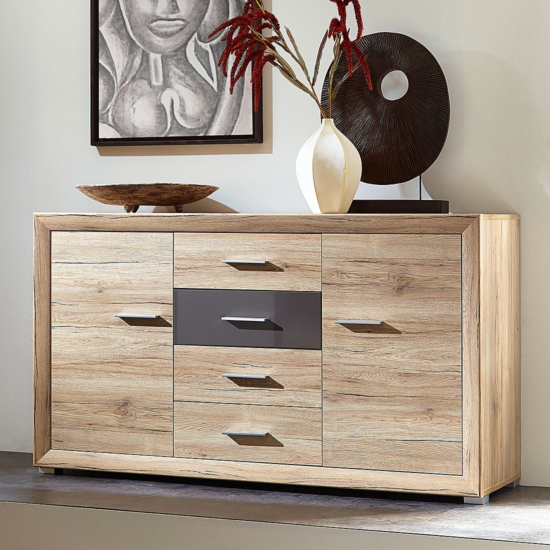 sideboard dexter eiche sanremo dekor hell modoform g nstig. Black Bedroom Furniture Sets. Home Design Ideas