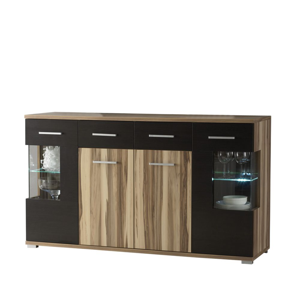 sideboard famos walnuss dekor schwarz vier t ren vier schubladen. Black Bedroom Furniture Sets. Home Design Ideas