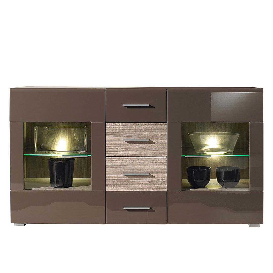 sideboard forino mdf hochglanz braun. Black Bedroom Furniture Sets. Home Design Ideas