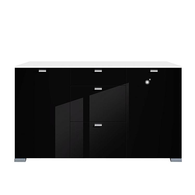sideboard gallery hg 2 t rig 3 schubladen wei schwarz. Black Bedroom Furniture Sets. Home Design Ideas
