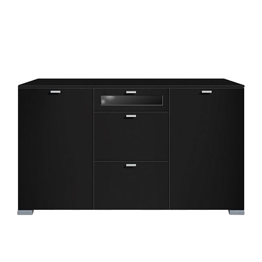 sideboard gallery plus 2 t rig und 3 schubladen mittig oberste glas schwarz. Black Bedroom Furniture Sets. Home Design Ideas