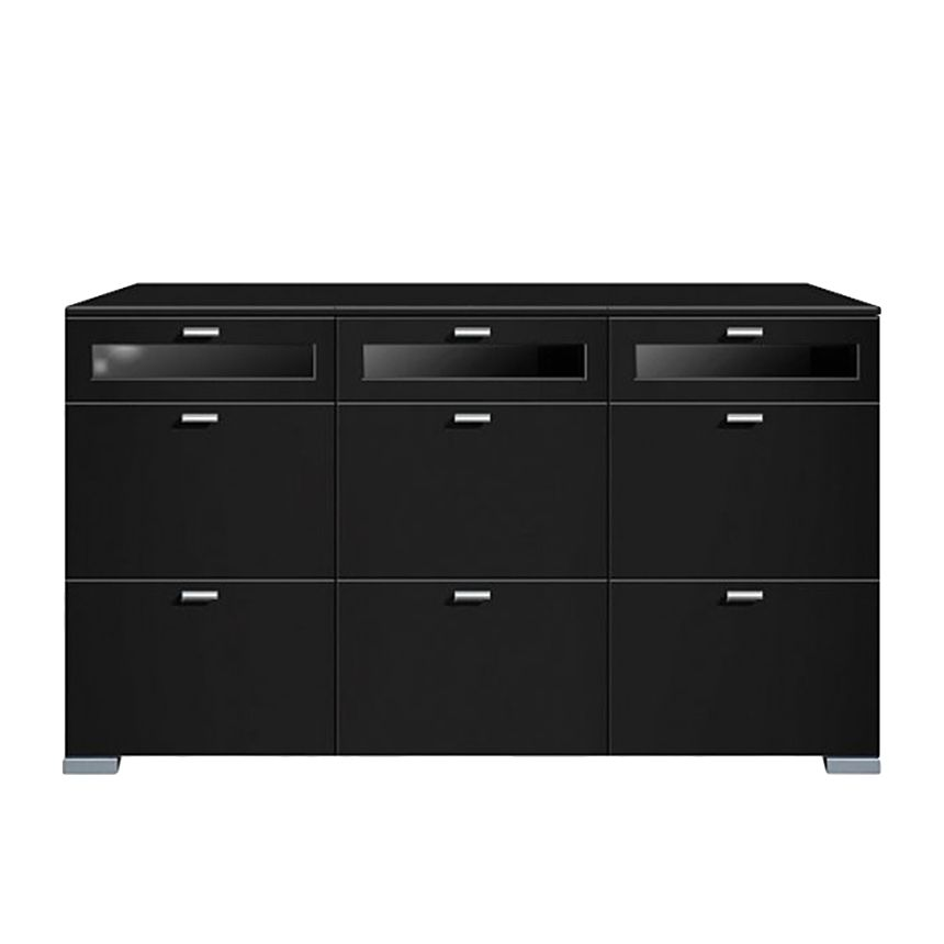 sideboard gallery plus 9 schubladen oberste 3 glas schwarz. Black Bedroom Furniture Sets. Home Design Ideas