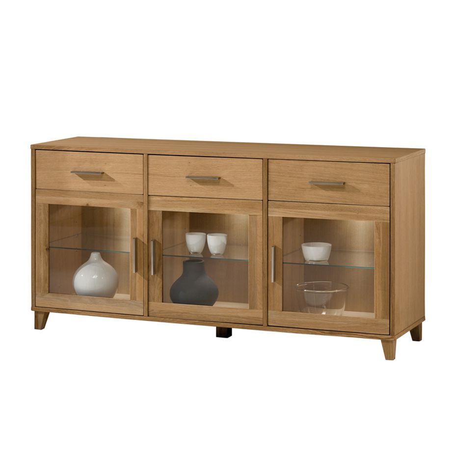 sideboard girona eiche massivholz ge lt ausf hrung mit beleuchtung. Black Bedroom Furniture Sets. Home Design Ideas
