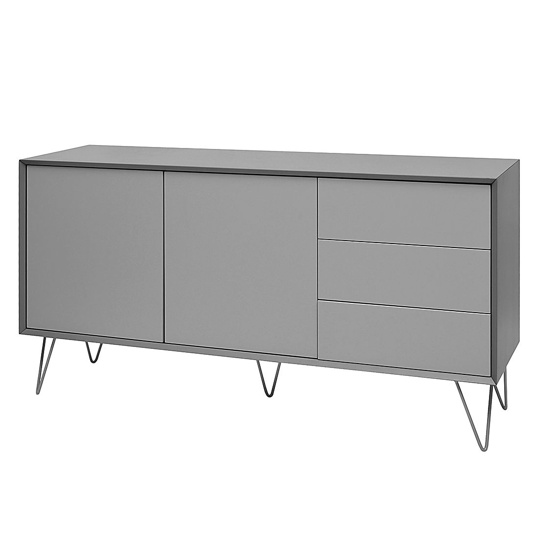 sideboard jerrell i matt grau reconcept m sod kl0092 isso m bel. Black Bedroom Furniture Sets. Home Design Ideas