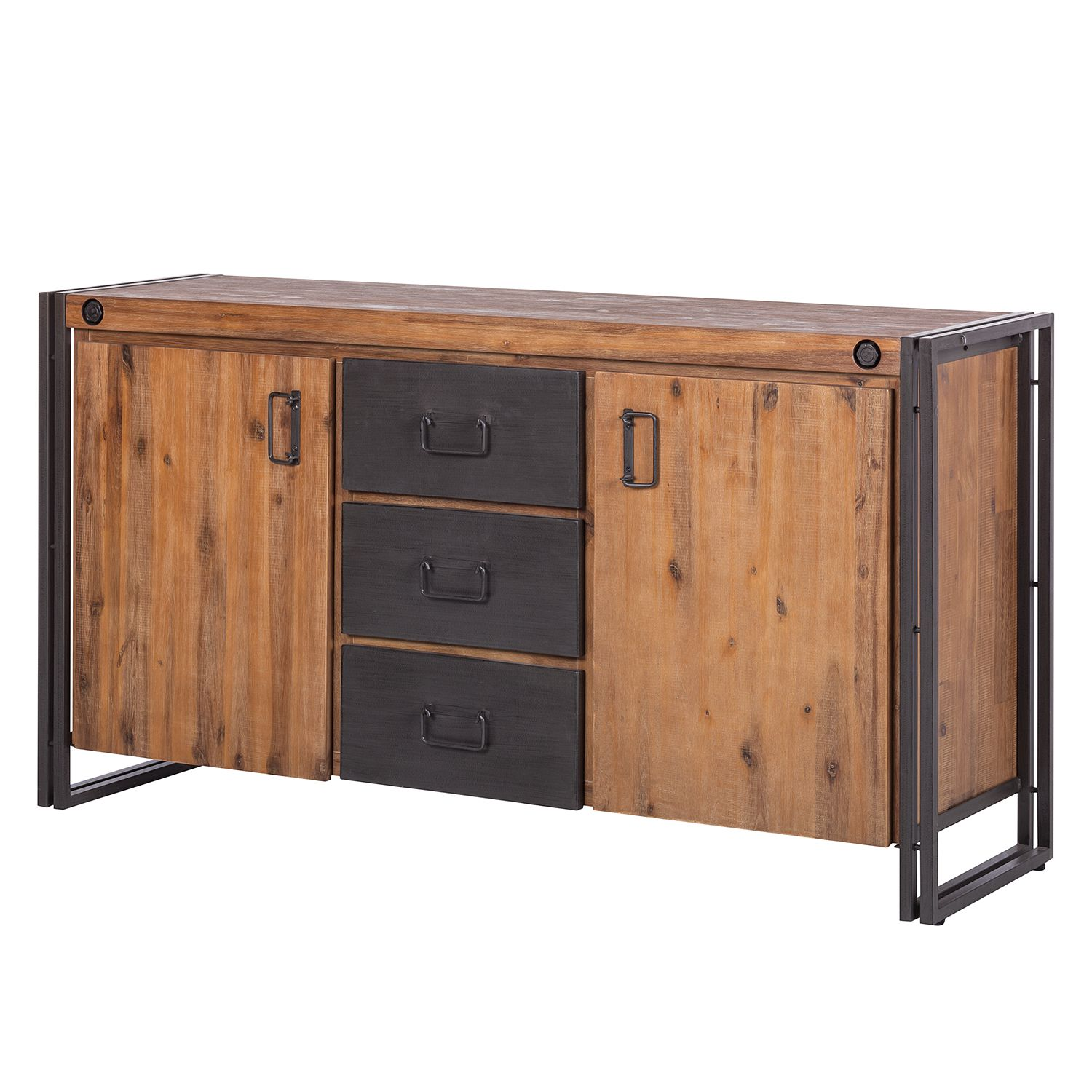 sideboard manchester ii akazie massiv metall ebay. Black Bedroom Furniture Sets. Home Design Ideas