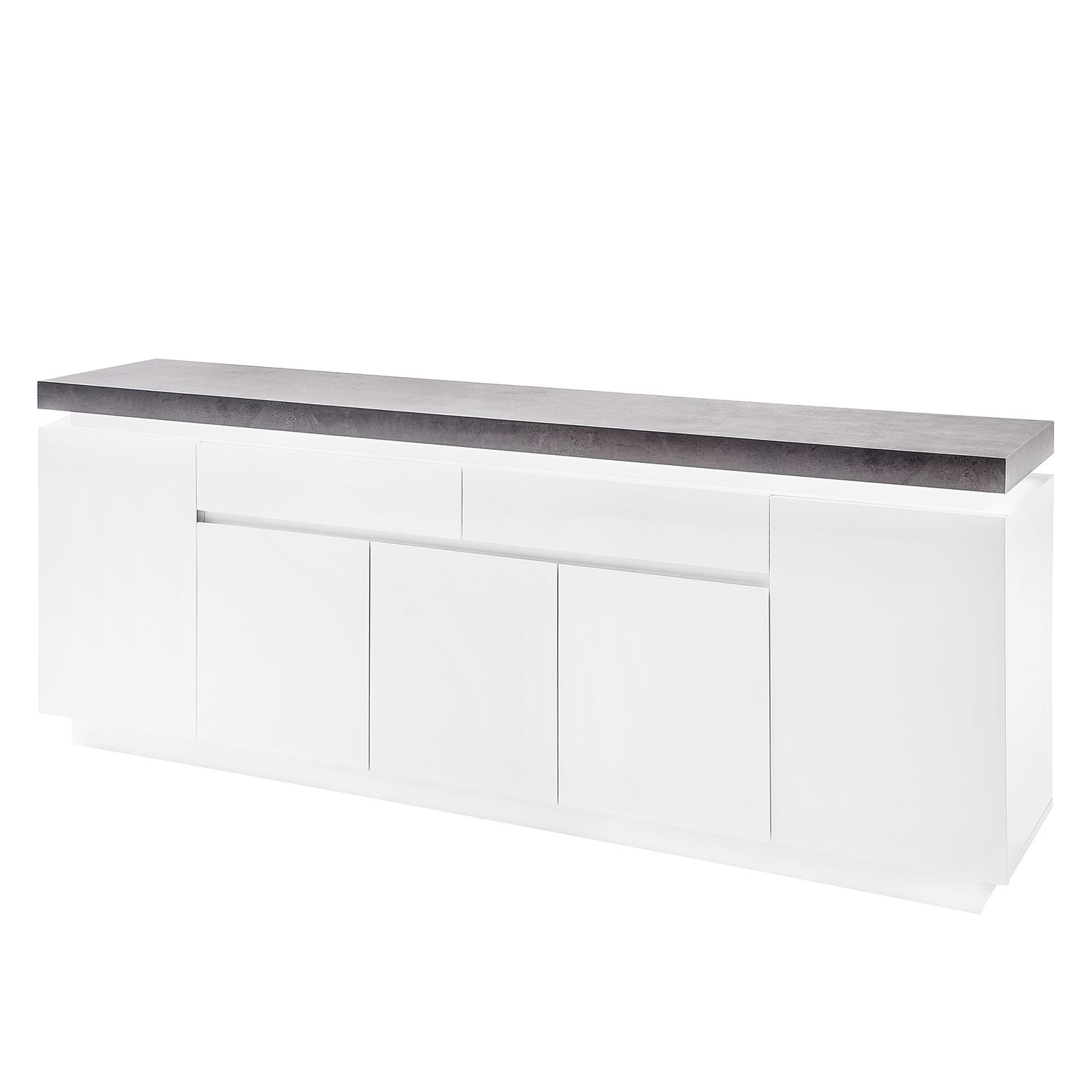 sideboard namona iii inkl beleuchtung matt wei beton. Black Bedroom Furniture Sets. Home Design Ideas