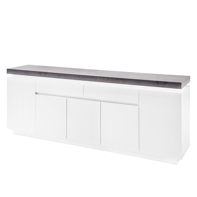 sideboard namona iii inkl beleuchtung matt wei beton dekor kommode schrank ebay. Black Bedroom Furniture Sets. Home Design Ideas