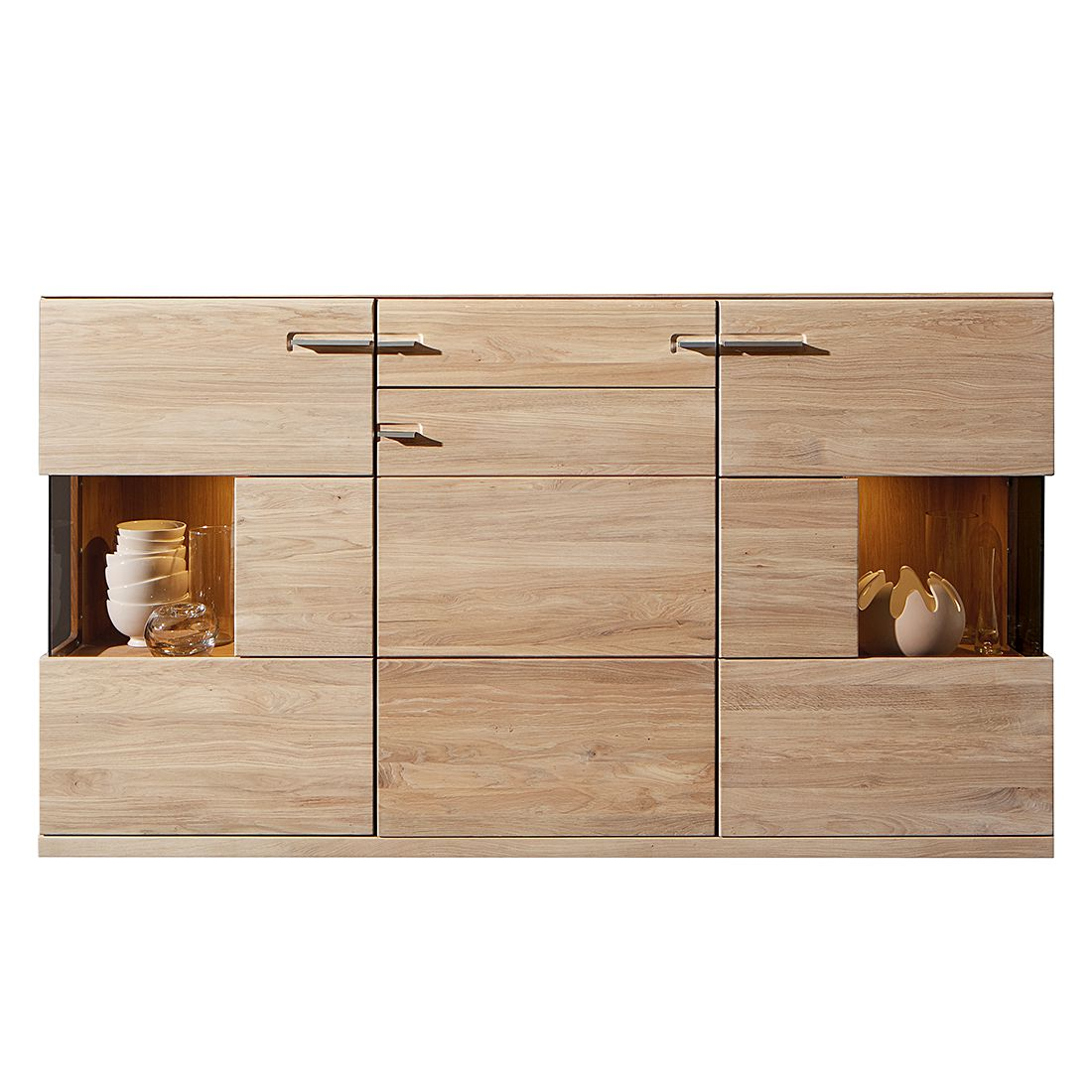 sideboard oregon eiche massiv ge lt gewachst sideboard inklusive beleuchtung schrank. Black Bedroom Furniture Sets. Home Design Ideas