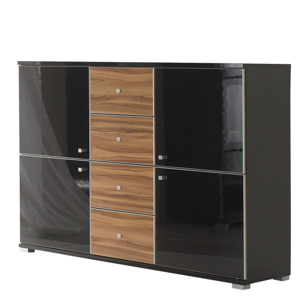 sideboard pirlo schwarz hochglanz nussbaum dekor 135cm breit. Black Bedroom Furniture Sets. Home Design Ideas