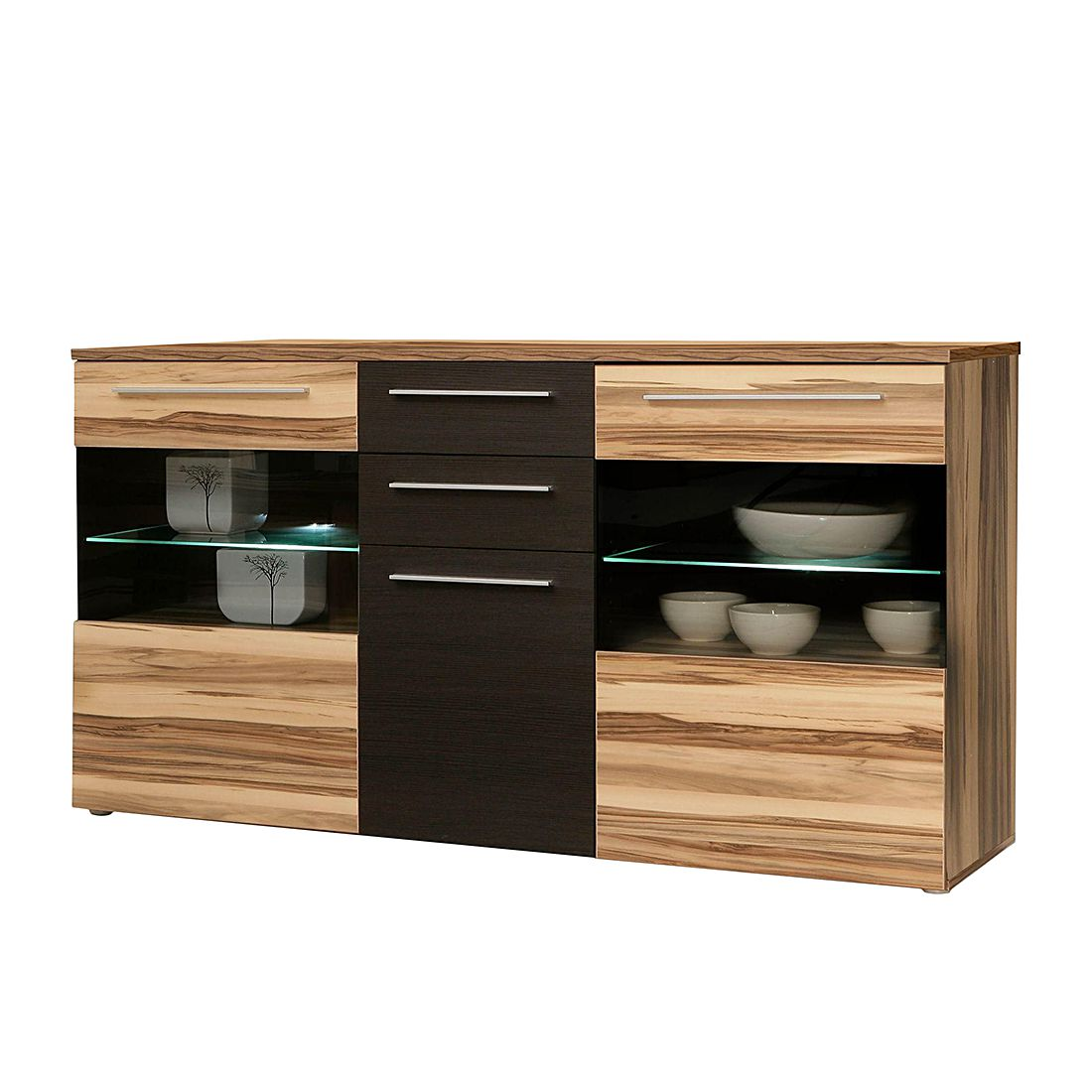 sideboard effekt mit glasauschnitt baltimore walnuss mit absetzung in eiche schoko schrank. Black Bedroom Furniture Sets. Home Design Ideas