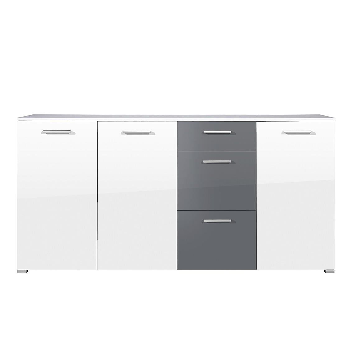 Sideboard SiO - Hochglanz Weiß/Grau - 3 Türen