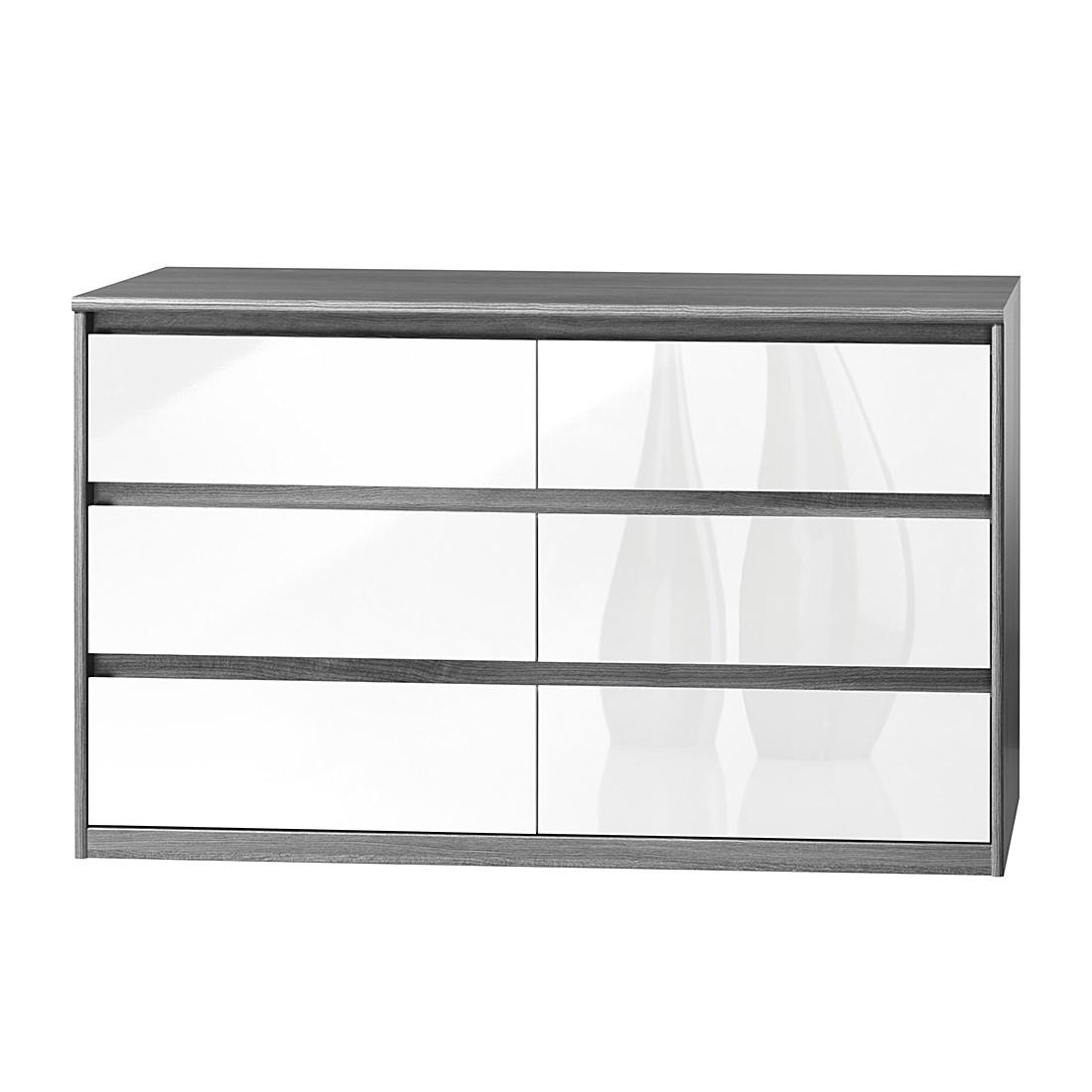Sideboard Soft Smart II – Silbereiche Dekor/Hochglanz Weiß, CS Schmal günstig bestellen
