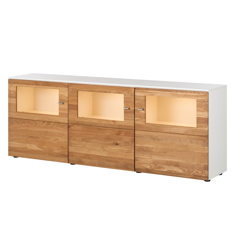 EEK A+, Sideboard Solano II - Mit Beleuchtung - Asteiche / Weiß, Netfurn by GWINNER