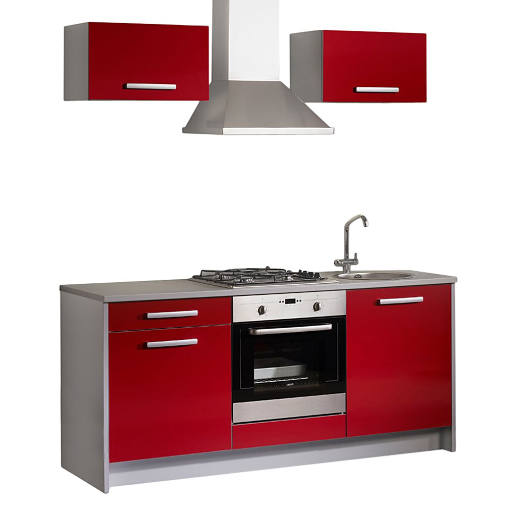 Miniküche Lepura (5-teilig) – Rot Hochglanz/Grau – Ohne Geräte, Young Furn günstig kaufen