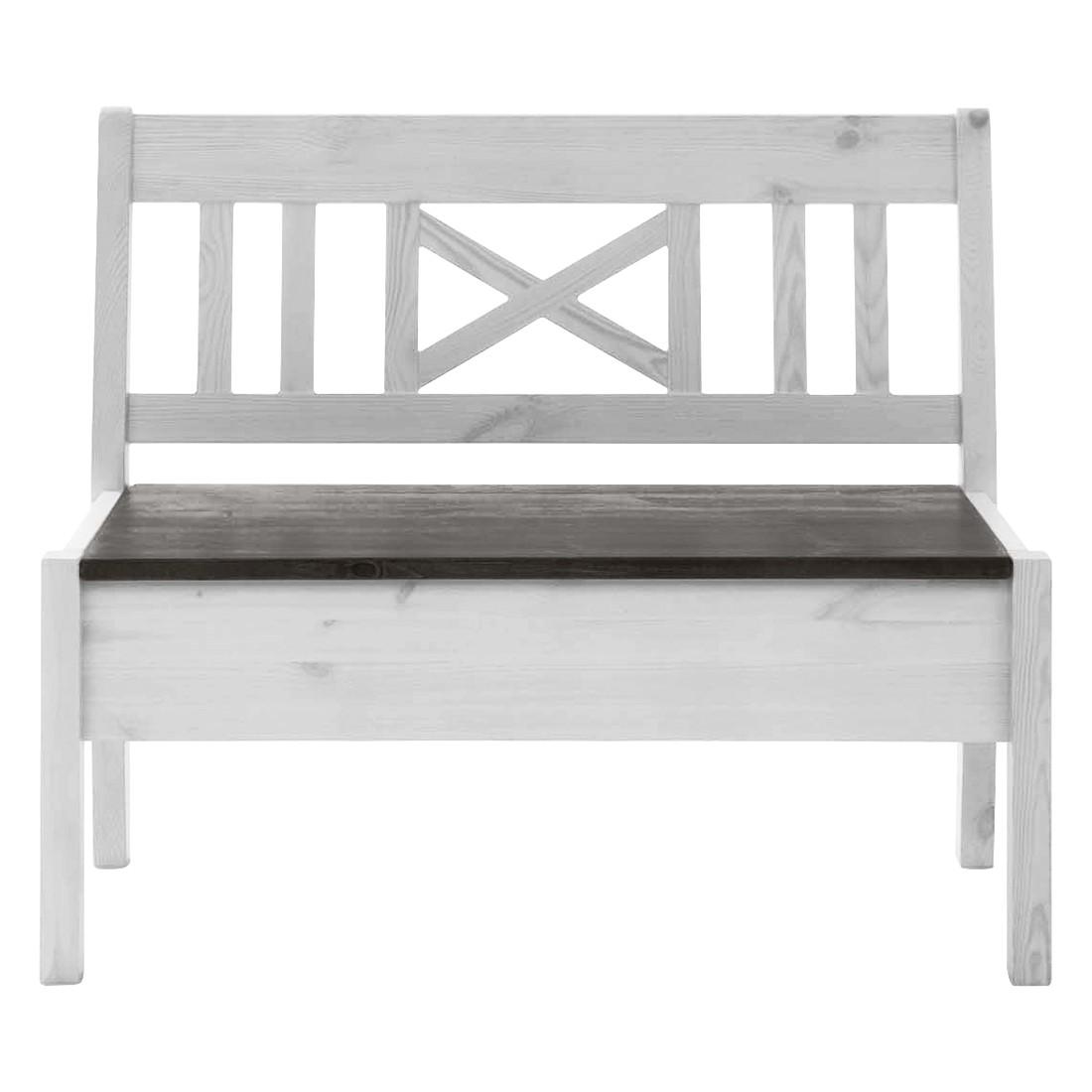 Sitzbank Fjord I – Kiefer massiv – Kiefer Weiß / Kiefer Grau – 97 cm, Landhaus Classic jetzt bestellen