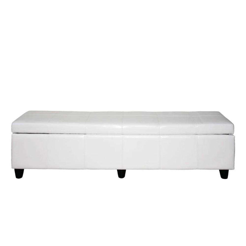 Sitzbank Arezzo XXL – mit Aufbewahrung – Leder – Weiß, Mendler günstig